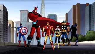 The closing shot of the opening title sequence changes depending on the current Avengers lineup as of that episode. By episode 12, Hulk has stepped out, Captain America has stepped in, and Black Panther is also in the mix.