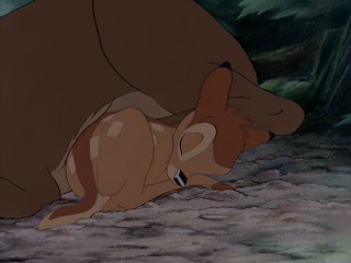 However, the different shades of brown in Bambi's fur do demonstrate the generally darker and better-looking appearance of the Diamond Edition. Still from Bambi: Diamond Edition Blu-ray's bonus DVD - click to view screencap full size.