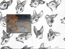"In this portion of ""Inside Walt's Story Meetings"", concept art of Bambi's various expressions acts as backdrop to a scene between him and Thumper."