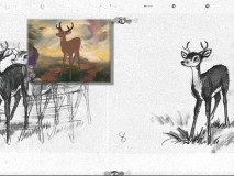 The story sketches for grown-up Bambi's re-introduction to Friend Owl, with the scene played in front.
