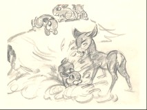 "A story sketch from the deleted scene ""Bambi's First Snow."""