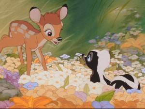 "Bambi calls the skunk ""Flower"" and the name sticks."