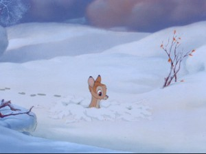 Bambi's close encounter of the snow kind.