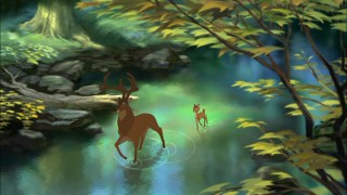 Big rings and little rings: The Great Prince and Bambi walk through water.
