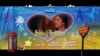 "The loud and vibrant ""Bride & Prejudice"" Main Menu."
