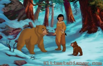 Nita (center) meets Koda and reunites with her childhood friend Kenai, who is now a seven foot Grizzly bear!