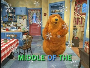 "The middle of a line in the middle of a sing-along: Bear croons ""In the Middle of the Winter."""