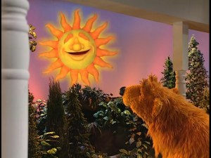 Bear gets a weather forecast from the sun himself.