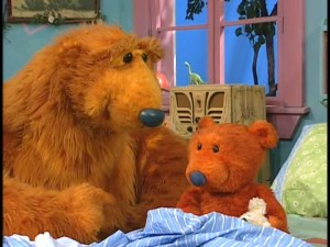 "Bear reassures young Ojo in ""The Big Blue Housecall."""