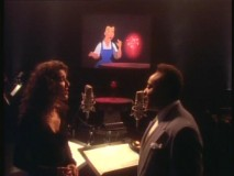 "Celine Dion and Peabo Bryson appear in soft-focus, big-haired glory to perform their pop rendition of ""Beauty and the Beast."""