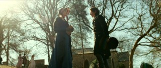 Against flaring sunlight, Jane (Anne Hathaway) tells Tom (James McAvoy) her opinion of both him and his literary tastes.