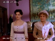 Jane (Anne Hathaway) and Mrs. Austen (Julie Walters) try to ignore the mysterious microphone lingering over them as they meet with Lady Gresham in this deleted scene.