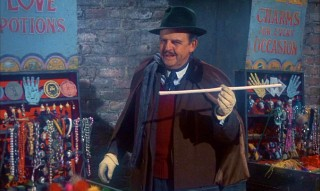 "David Tomlinson, best known as ""Mary Poppins"" paterfamilias George Banks, assumes leading man status here as sham London illusionist Emelius Browne."