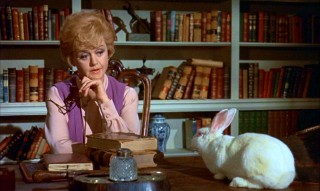 Eglantine (Angela Lansbury) tries to speak reason with Emelius, who she's turned into a rabbit.