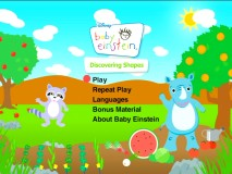 Rhino and his friend Raccoon enjoy a picnic of shapes on the Main Menu of this latest Baby Einstein DVD.