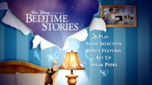 Bugsy dances on the relatively boring Bedtime Stories DVD main menu. He must have gotten high marks from test audiences.