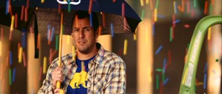 Skeeter (Adam Sandler) wields an umbrella for the unusual raining of gumballs foretold the night before.