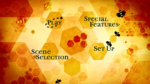 Busy bees and hexagonal honeycomb cells... good times on the Bee Movie Disc 1 main menu.