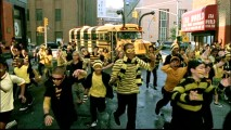 "Featuring hordes of excited youths decked in black and yellow, the ""We Got the Bee"" music video adds to the trend of kid-friendly covers of early '80s pop tunes."