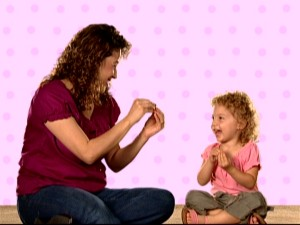 Keep in mind this is the ideal mother-daughter response to Baby Einstein sign language and that they're not watching TV!