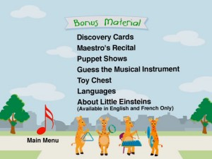 The bonus features menu