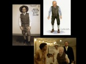 "A photo, a sketch, and a frame from the film illustrate how young/old Benjamin Button's clothing was developed in ""Costume Design."""
