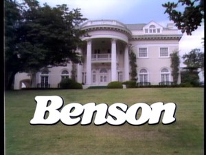 "The ""Benson"" title logo showcases the Governor's Mansion in an exterior shot that establishes the series' primary location."
