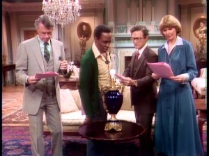 "If ""Benson"" were a radio drama, it might look like this. The Governor, Benson, Taylor, and Kraus (Inga Swenson) read a script meant to throw off whoever's bugged the Mansion."