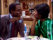 "Benson shares a romantic candlelight dinner with a state senator (Beverly Todd) in ""Benson in Love."""