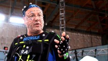 For motion capture, Ray Winstone wore reference points all over his face and his character's name across his chest.