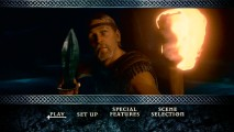 The eponymous hero wields both a torch and a shield in this iconic shot from the Beowulf DVD's Main Menu.