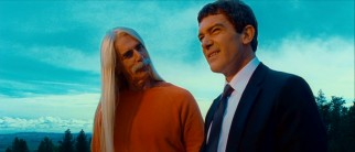 Long, beautiful-haired eccentric Simon Kestral (Sam Elliott) ventures above ground to have Ned (Antonio Banderas) over for dinner.