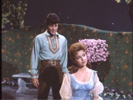 Tom Piper (Tommy Sands) and Mary Contrary (Annette Funicello) share an intimate moment in the garden.