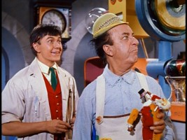 With Tommy Kirk as his assistant, who can blame the Toymaker (Ed Wynn) for being a little absent-minded?