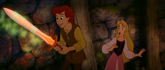 Taran is impressed and Princess Eilonwy surprised by the magical sword he has nonchalantly picked up.