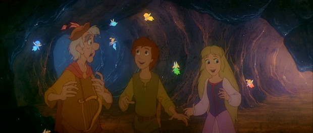 Fflewddur Fflam, Taran, and Eilonwy are delighted to meet the flying, glow-in-the-dark Fairfolk on the other side of the whirlpool.