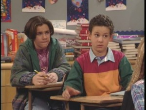 Lessons come from in and out of the classroom. Here, Shawn and Cory try to understand Mr. Feeny's latest topic.