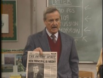 "Mr. Feeny is not pleased with the school newspaper's headline in ""Notorious."""