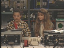 "Cory and Topanga work on a school project late into the night in ""Wake Up, Little Cory."""