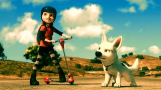 Penny (voiced by Miley Cyrus) and Bolt (voiced by John Travolta) get into their heroes' stances in anticipation of an elaborate good vs. evil showdown staged for primetime.