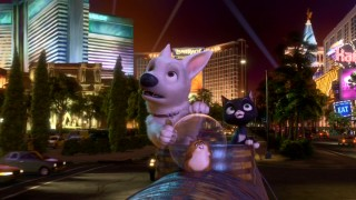 "Bolt, Mittens, and Rhino admire the colorful sights and sounds of Las Vegas in a shot that probably unintentionally calls back to a Times Square moment from ""The Wild."""