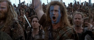 William Wallace: Scottish warrior or UNC Tar Heels fan? You decide. Donning his famous blue face paint, Wallace commands his troops to hold as the English soldiers surge against them.