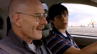 Walter gives his son (RJ Mitte) an impromptu driving lesson.