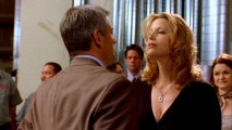 Skyler (Anna Gunn) gives her boss Ted Beneke (Christopher Cousins) a Marilyn Monroe-style birthday greeting at his workplace party.