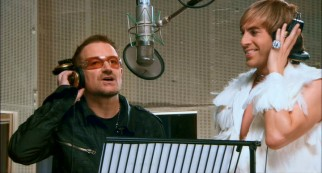"Whereas ""Borat"" only had Pamela Anderson, ""Brüno"" contains several celebrity appearances, most (including U2's Bono) in the closing Dove of Peace song recording."