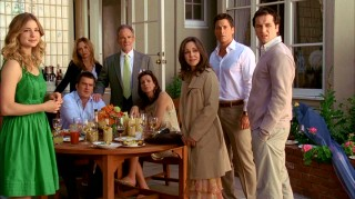 Most of the regular adult cast -- standing left to right: Rebecca, Kitty, Saul, Nora, Robert, Kevin; seated: Tommy, Sarah -- stares at Senator McCallister's wacky family in the season finale.