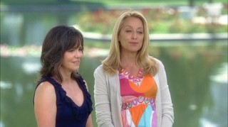 "In ""Home Front"", Nora (Sally Field) and Holly (Patricia Wettig) reminisce over William Walker at his grave."