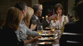 "At ""The Feast of Epiphany"", Nora (Sally Field) starts a toast as Isaac (Danny Glover) and the others look on."