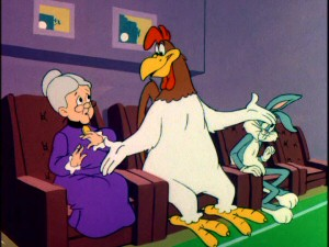 "Foghorn Leghorn asks Granny if her opinion of his cartoon ""Little Boy Boo"" will help her choose him as replacement Easter Bunny, an Easter Rooster if you will."