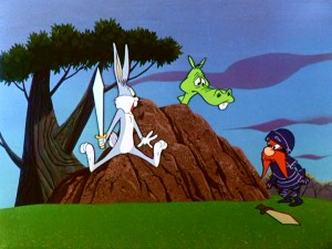 "In the Oscar-winning film opener ""Knighty Knight Bugs"", Bugs Bunny is surprised to see the Black Knight and his mopey dragon."
